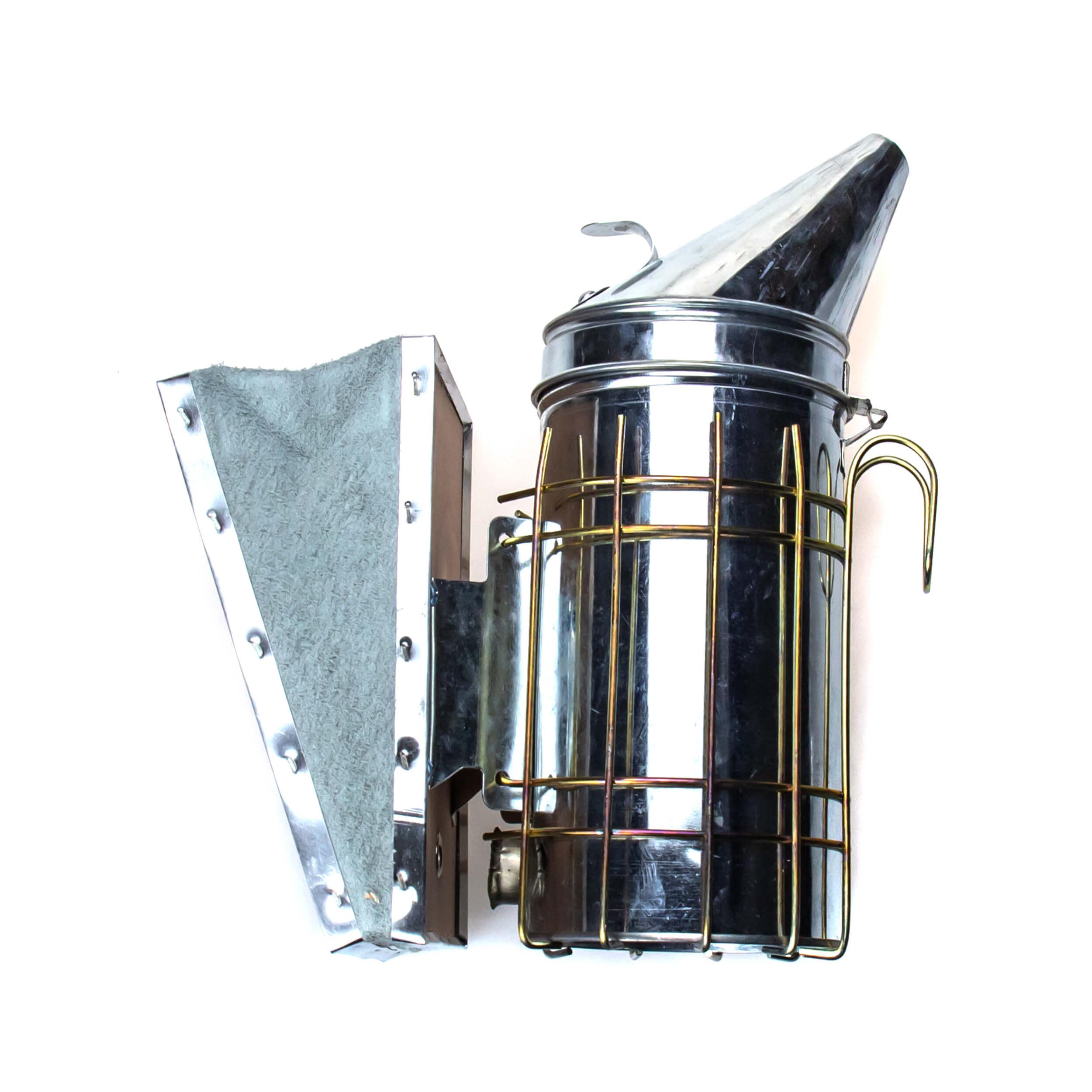 Дымарь «Люкс-28M» (оцинковка, с защитой, кожаные меха) фото